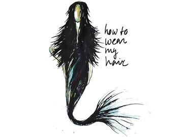 illustrated art card - postcard illustration - art postcard - watercolor greetings card - mermaid - Eco Friendly Stationery