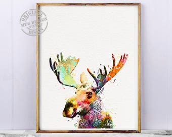 Moose Watercolor Nature Print, Moose Art, Moose Painting, Moose Print,  Abstract Moose, Watercolor Illustration, Nursery Kids Room Art Print