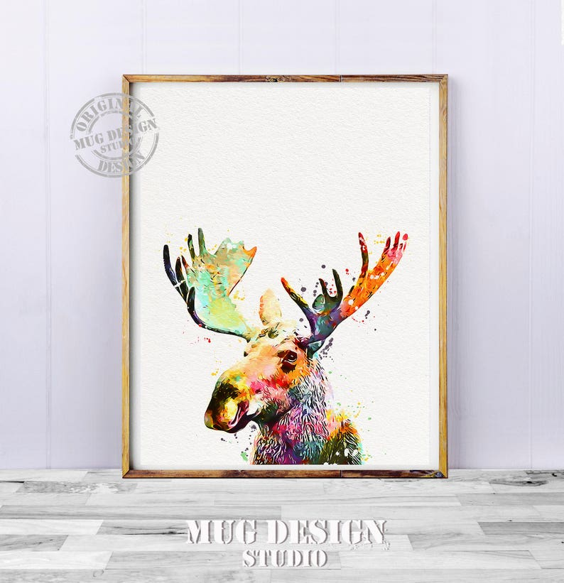 0861bdd87 Moose Watercolor Nature Print Moose Art Moose Painting | Etsy