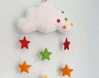 Handmade felt baby mobile, cloud and rainbow stars, nursery decor, baby gift