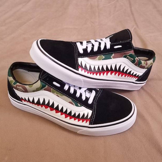 308a107d00d471 Bape Shark Bite Custom Vans