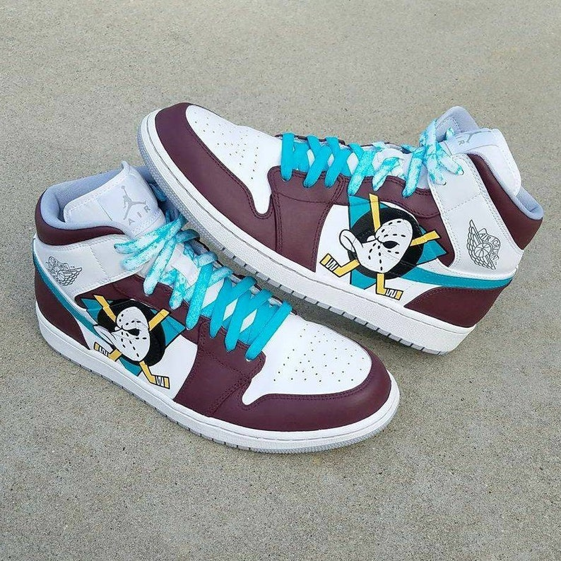c348c7884ba49 Mighty Ducks Custom Jordan 1 | Etsy