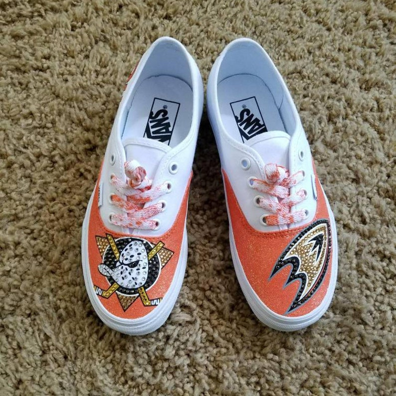 f15f0a02ecb2 Anaheim Ducks Custom White Vans