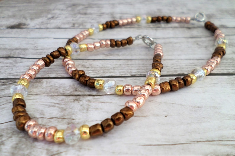 Small Bead Jewelry Seed Bead Anklet Jewelry Set Seed Bead Bracelet Seed Bead Jewelry Gold and Brown Jewelry Bracelet and Anklet Set
