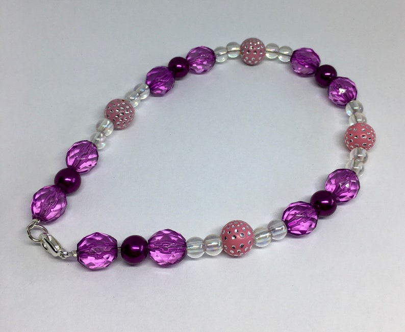 Anklet Women\u2019s Beaded Anklet Ankle Bracelet for Her Pearl Bead Anklet 10 Inch Anklet Purple Beaded Anklet Pink and Purple Anklet