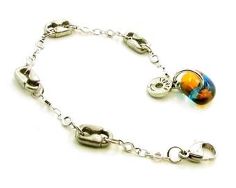 Bracelet / verre fusion / étain / épingles / chaîne / bijoux / accessoires mode / Chantal Laparé /