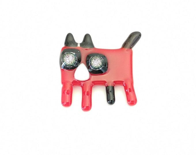 Broche chat, épinglette verre fusion, pin, accessoire en verre, broche colorée, rouge, noire et blanche, fait à la main au québec