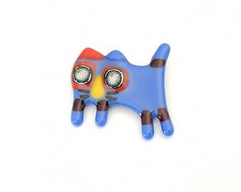 Broche chat, épinglette verre fusion, pin, accessoire en verre, broche colorée, bleu, rouge et jaune, fait à la main au Québec