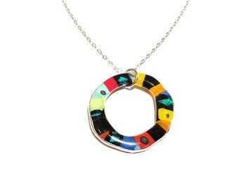 Tin contour fusion glass pendant necklace, colorful jewel candy collection