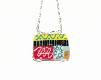 Glass pendant, colorful jewelry, bright, gift, fashion accessories, trend