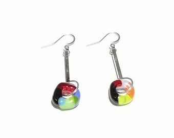 Women's glass earring, bright jewelry, colorful, gifts, fashion accessories, trend