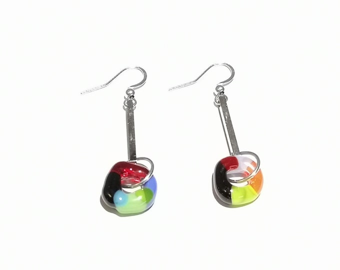 Earrings multicolored fusion glass stainless steel colored jewel, gifts
