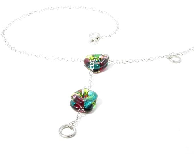 Collier ajustable multicolore / Verre fusion / Bijoux / Accessoires mode / Chantal Laparé /