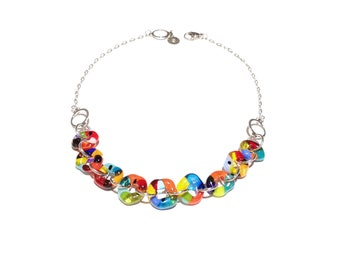 Glass necklace, woman, jewelry, colorful, bright, fashion accessories