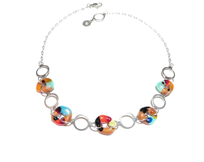 Multicolored fused glass necklace, stainless steel original jewel