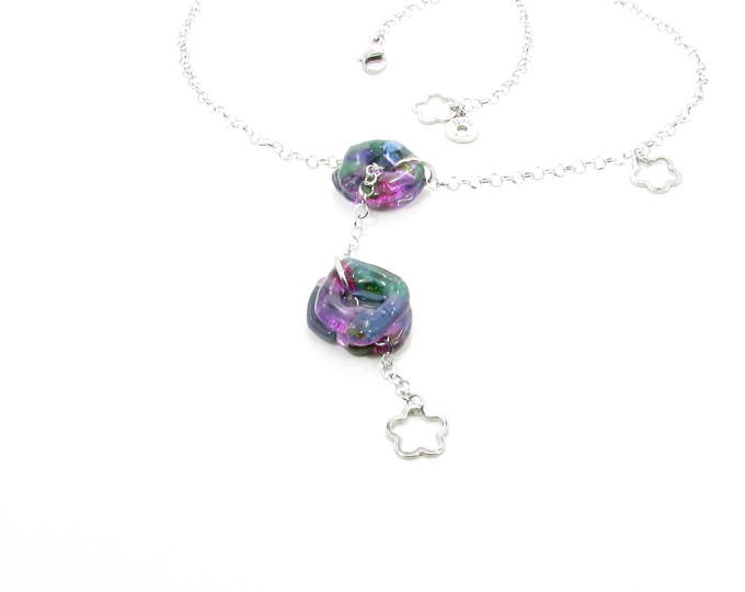 Colorful adjustable necklace, woman, bright jewelry, glass necklace, fashion accessories, trend