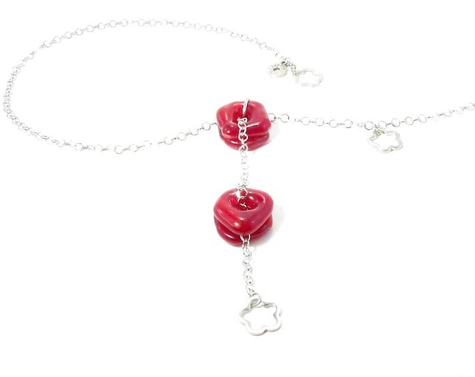 Collier ajustable / rouge / Verre fusion / Bijoux / Accessoires mode / LaparéBijoux