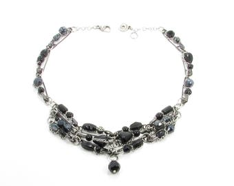 Recycled black glass ball necklace, chic necklace, original gift