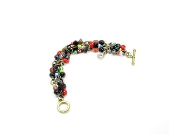 D'une épingle à l'autre /  bracelet original / recyclé / billes multicolores / LapareBijoux