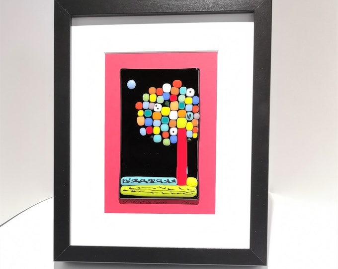 Black wooden frame and fused glass all in color, wall decoration, The secret of the tree