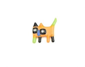 Broche chat, épinglette verre fusion, pin, accessoire en verre, parure colorée, pêche, noir et vert, fait à la main au Québec