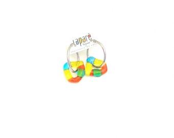 Boucle d'oreille anneaux, verre fusion, collection bonbons, parure, turquoise, jaune et orange, fait à la main au Québec