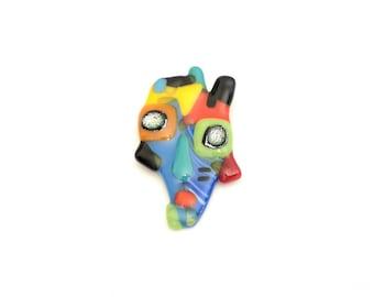 Broche art cubiste, épinglette verre fusion, pin, accessoire en verre, parure, multicolore, fait à la main au Québec