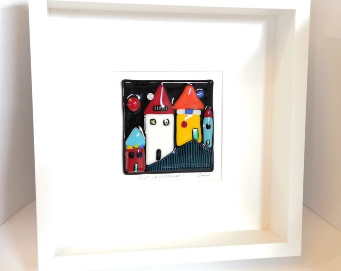 White wooden frame and fused glass all in color, wall decoration, Long live the countryside