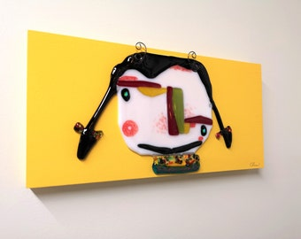 Frame, merged glass piece, multicolored, interior design, joyful and cool, handmade in Quebec