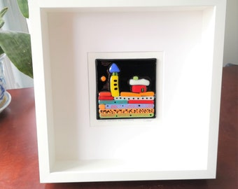 White wooden frame and fused glass all in color, wall decoration, This house protects me