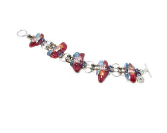 Glass bracelet fused all in color