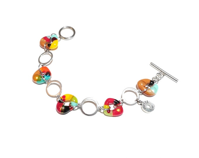 Women's glass bracelet, colorful jewelry, bright, fashion accessories, gift, trend
