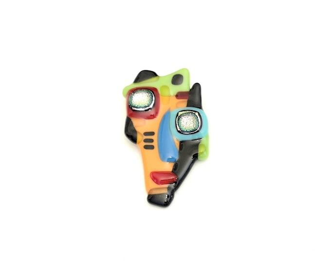 Broche art cubiste, épinglette verre fusion, pin, accessoire en verre, parure colorée, multicolore, fait à la main au Québec