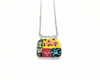 Colorful jewel glass pendant necklace, all in color, gift