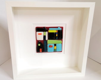 White wooden frame and fused glass all in color, wall decoration, 4 houses