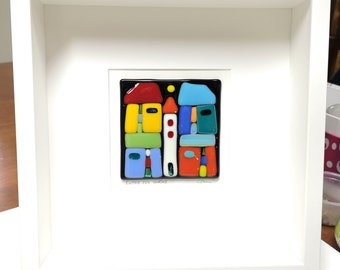 White wooden frame and multicolored fused glass, wall decoration, Between the four