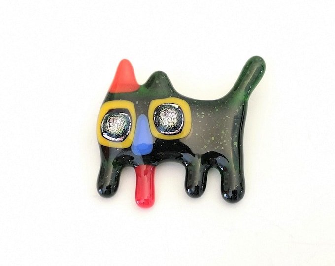 Glass cat brooch fused colored pine pin, gift