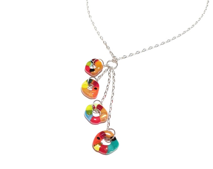Multicolored fusion glass pendant necklace for women, candy collection