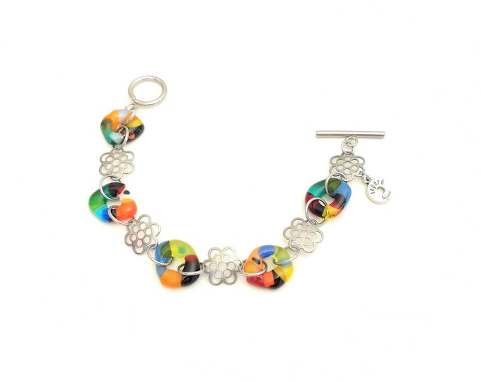 Fusion glass and stainless steel bracelet, pretty colorful jewel woman bracelet