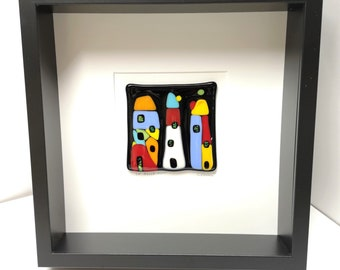 Square black frame and fused glass, all in color, wall decoration