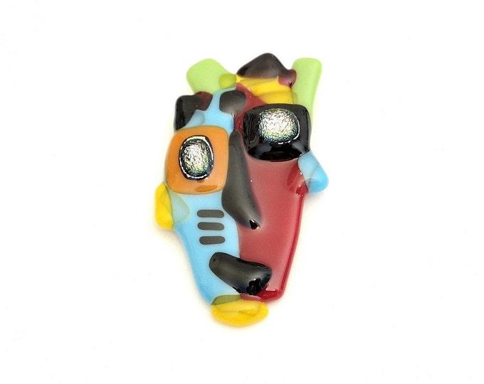 Pin fusion pin glass brooch, colorful cheerful original