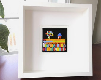 Square frame of wood and multicolored fused glass, Joy can be found here