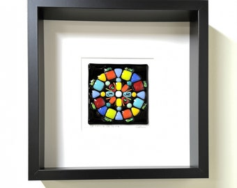 Black wooden frame and fused glass all in color, wall decoration, The circle of life