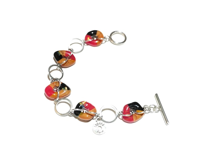 Fusion glass and stainless steel bracelet, pretty colorful jewel