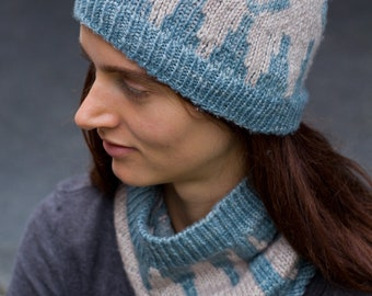 Backgammon Hat and Cowl - Knitted hat pattern - Hat knitting pattern - Cowl Knitting Pattern - pattern set - Colourwork knitting -