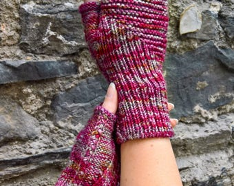 Fingerless Mitts Knitting Pattern - Woven Together - Instant Download - Ribbing and cables - knitted gloves - quick knit - fingerless glove