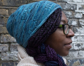 Time Vortex hat - Knitted hat pattern - Hat knitting pattern - Whovian Hat - beanie hat - slouch- Roman Numerals - Nonstandard construction
