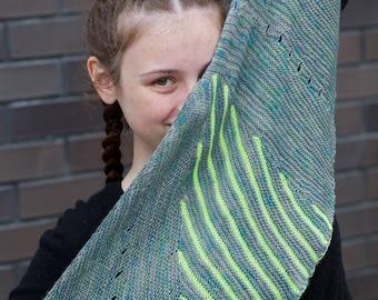 Electric Skylines Shawl - Crescent Shawl knitting pattern - Sideways shawl - large shawl - colourwork shawl - Evening shawl - large wrap