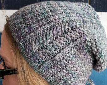 Warm for the winter - Hat knitting pattern - slouch hat - beanie knitting - charity knitting - cabled hat - quick knit - knitters gift -