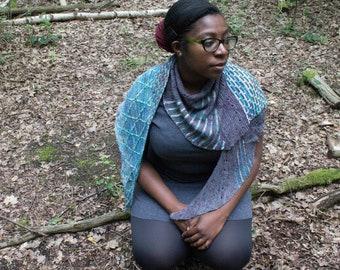 Tenet Terra Shawl - Crescent Shawl knitting pattern, biased shawl - large shawl - colourwork shawl - cable knitting - slip stitch patterning
